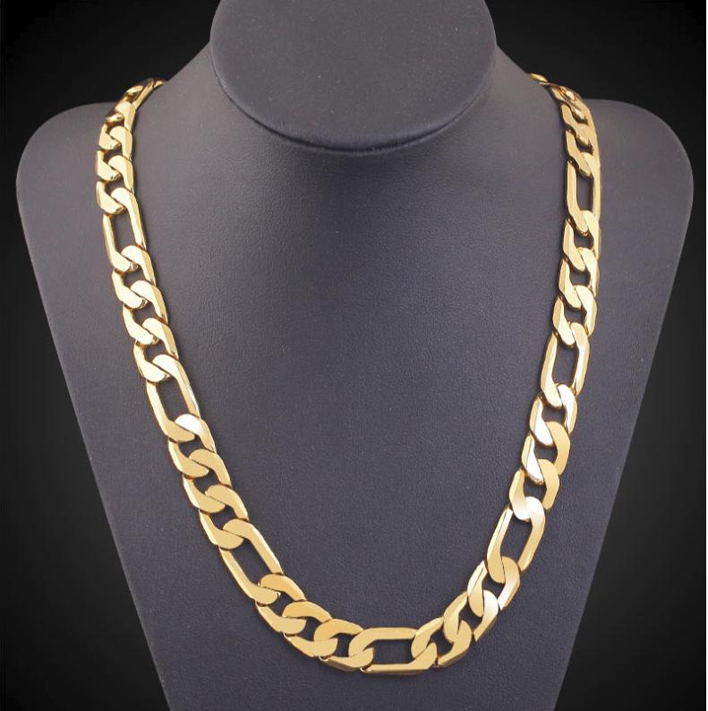Goldkette kurz 50cm Kette 18 Karat vergoldet 6MM Kette Herren Damen Halskette